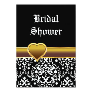 Black white damask heart wedding bridal shower 5x7 paper invitation card