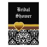 Black white damask heart wedding bridal shower announcements