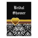 "Black white damask heart wedding bridal shower 5"" x 7"" invitation card"