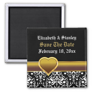 Black white damask heart wedding Save the Date 2 Inch Square Magnet