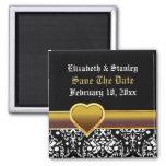Black white damask heart wedding Save the Date Fridge Magnet