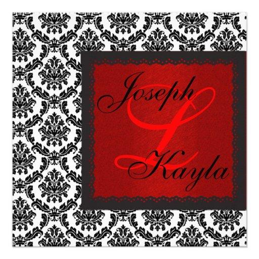 Black  & White DAMASK Holiday Classic Wedding Inva Custom Announcements