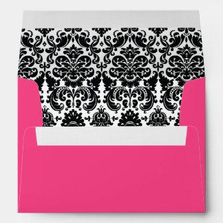 Black White Damask Hot Pink A7 Envelope