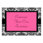 Black & White Damask, Hot Pink Announcement