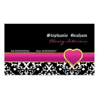 Black white damask hot pink heart business card