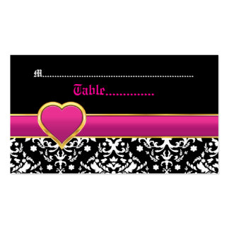 Black white damask hot pink wedding place card Double-Sided standard business cards (Pack of 100)