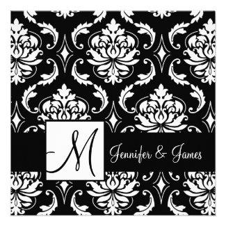 Black White Damask Initial Wedding Invitation