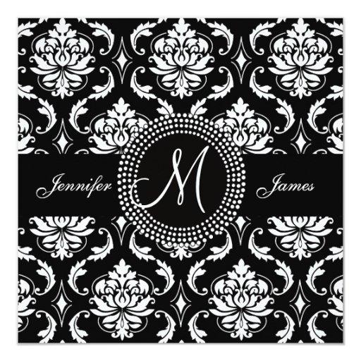 Black White Damask Initial Wedding Invitations