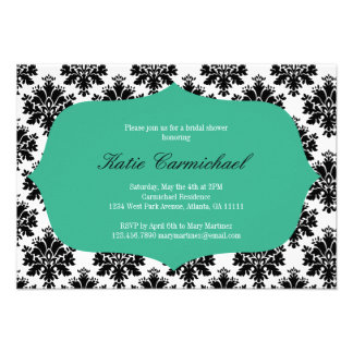 Black White Damask Invitation