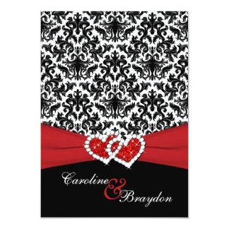 Black, White Damask, Joined Hearts Wedding Invite