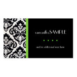 Black & White Damask, Key Lime Business Cards