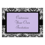 Black & White Damask, Lavender Personalized Announcements