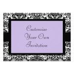 Black & White Damask, Lavender Personalized Announcements