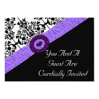 Black & White Damask Lavender Sparkle Heart 5x7 Paper Invitation Card