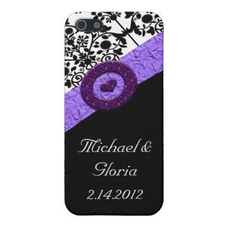 Black & White Damask Lavender Sparkle Heart Case For iPhone SE/5/5s