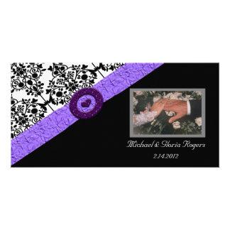 Black & White Damask Lavender Sparkle Heart Photo Card