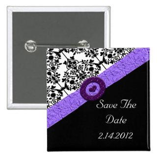 Black & White Damask Lavender Sparkle Heart Pinback Button