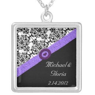 Black & White Damask Lavender Sparkle Heart Square Pendant Necklace
