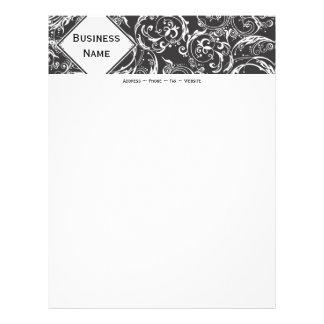 Black & White Damask Letterhead