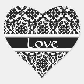 Black & White Damask Matching Love Stickers