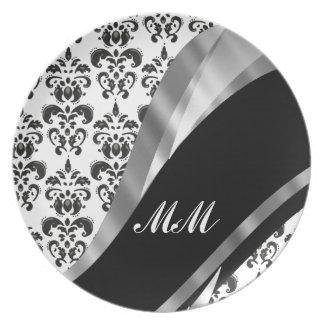Black & white damask melamine plate