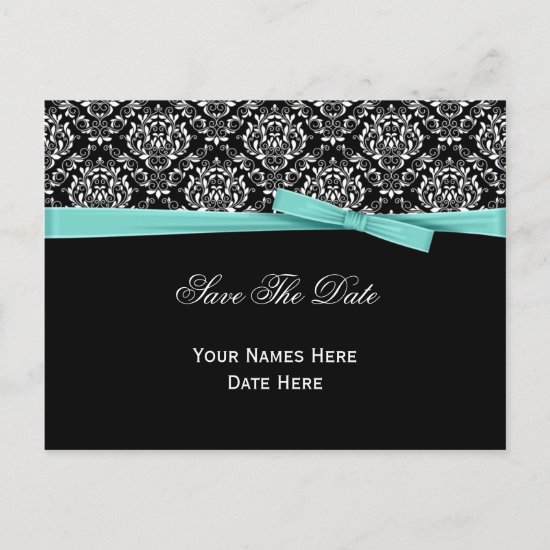 Black White Damask Mint Bow Ribbon Save The Date Announcement Postcard