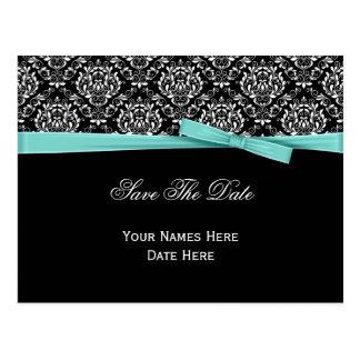 Black White Damask Mint Bow Ribbon Save The Date Postcard