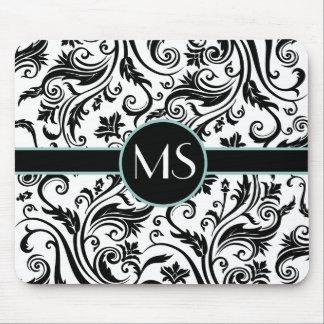 Black White Damask Monogram Mouse Pad