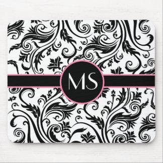 Black White Damask Monogram Mousepad