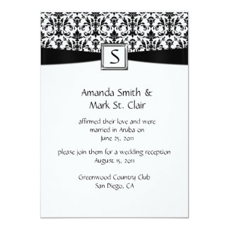 Black White Damask Monogram Post Wedding Announcements