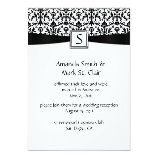 Black White Damask Monogram Post Wedding 5x7 Paper Invitation Card