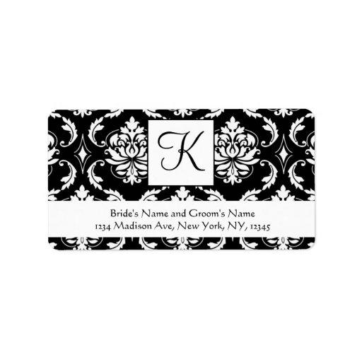 Black White Damask Monogram Wedding Address Labels