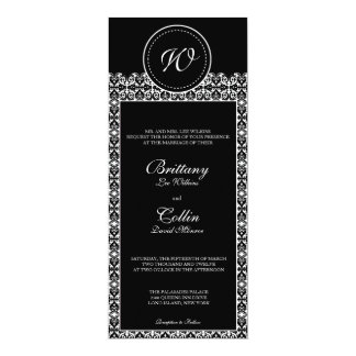 Black & White Damask  Monogram Wedding Invitation