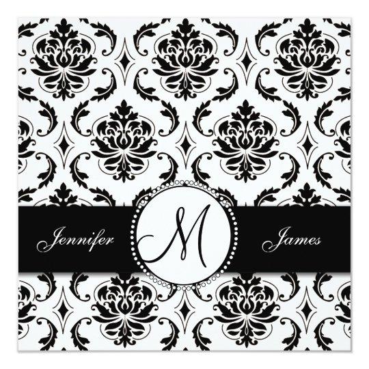 Black White Damask Monogram Wedding Invitation