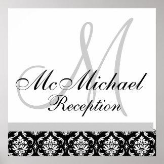 Black & White Damask  Monogram Wedding Reception Poster