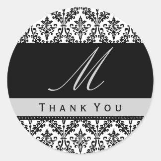 Black & White Damask Monogram Wedding THANK YOU St Classic Round Sticker