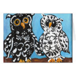 Black & White Damask Owls Greeting Cards