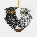 Black & White Damask Owls Ornament