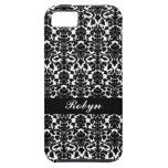 Black white damask pattern custom name personal iPhone 5 cover