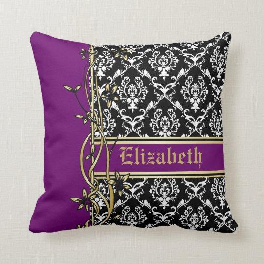 Damask Throw Pillows Black White : Black white damask pattern gold floral border throw pillow Zazzle.com