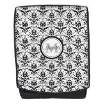 Black White Damask Pattern Monogram Backpack