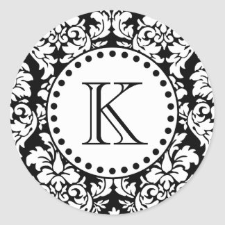 Black White Damask Pattern Monogram Classic Round Sticker