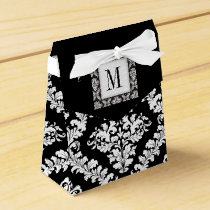Black, white damask pattern monogram wedding favor box