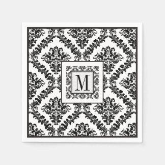 Black, white damask pattern monogram wedding paper napkin