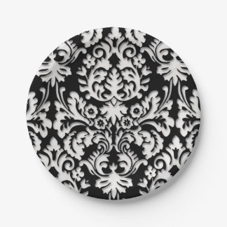 Black & White Damask Pattern Paper Plate