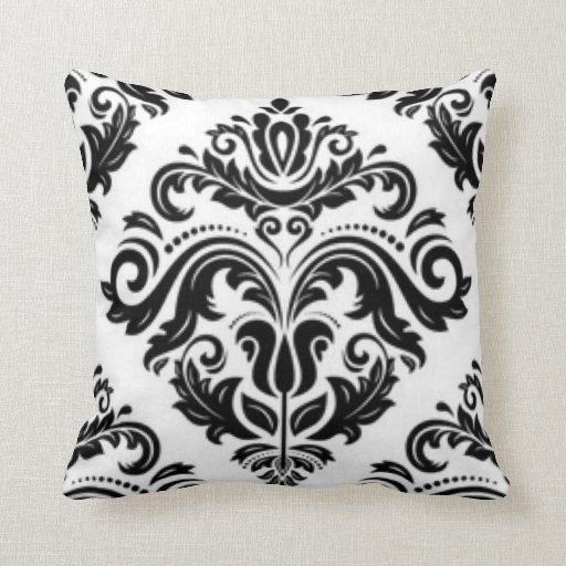 Damask Throw Pillows Black White : Black White Damask Pattern Print Design Throw Pillow Zazzle