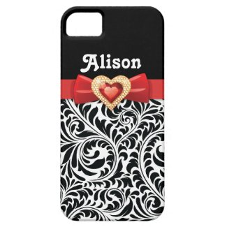 Black white damask pattern & red bow and jewel iPhone 5 cases