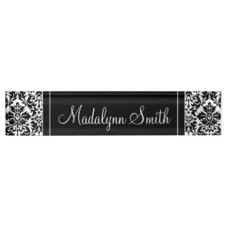 Black & White Damask Pattern with Script Name Desk Name Plate