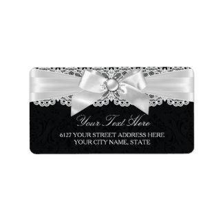 Black & White Damask & Pearl Bow Address Label
