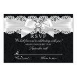 Black & White Damask & Pearl Bow RSVP 3.5x5 Paper Invitation Card